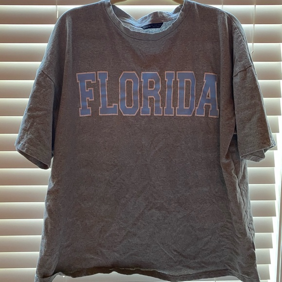 grey t-shirt with florida written on it from shein